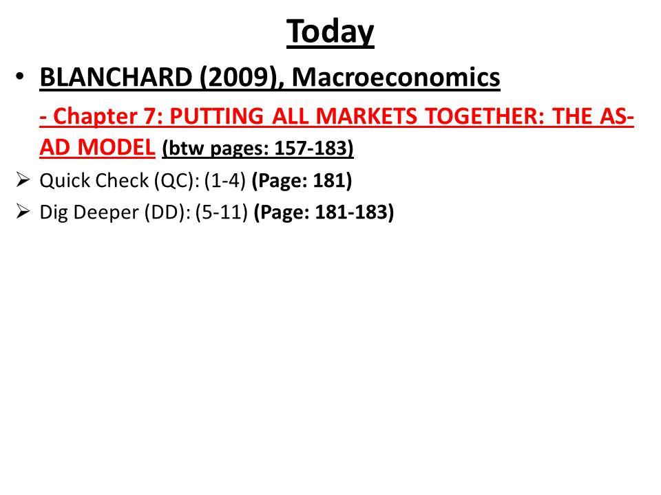 Today BLANCHARD (2009), Macroeconomics