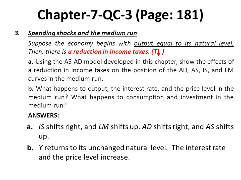 Chapter-7-QC-3 (Page: 181) Spending shocks and the medium run.