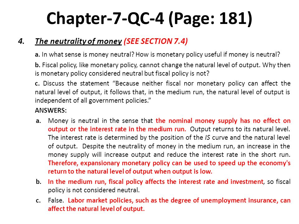 Chapter-7-QC-4 (Page: 181) The neutrality of money (SEE SECTION 7.4)