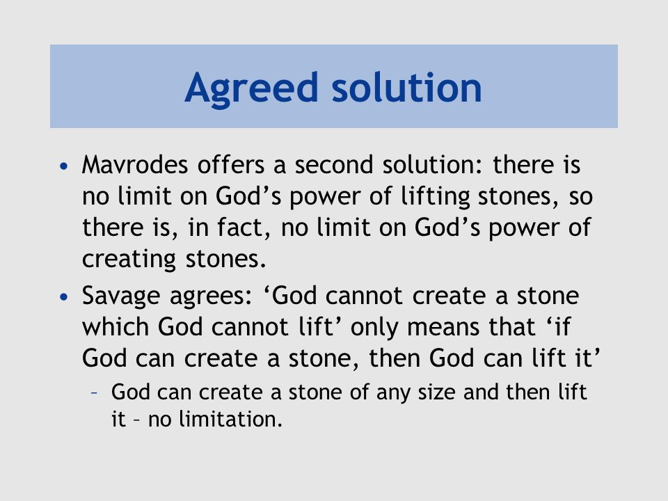 Agreed solution