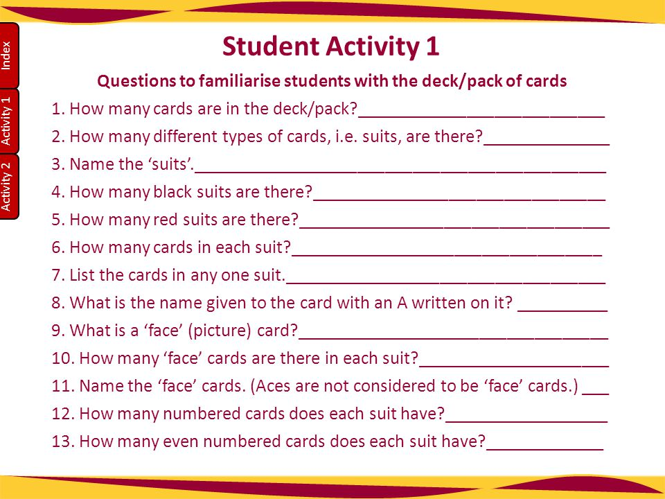 Questions to familiarise students with the deck/pack of cards