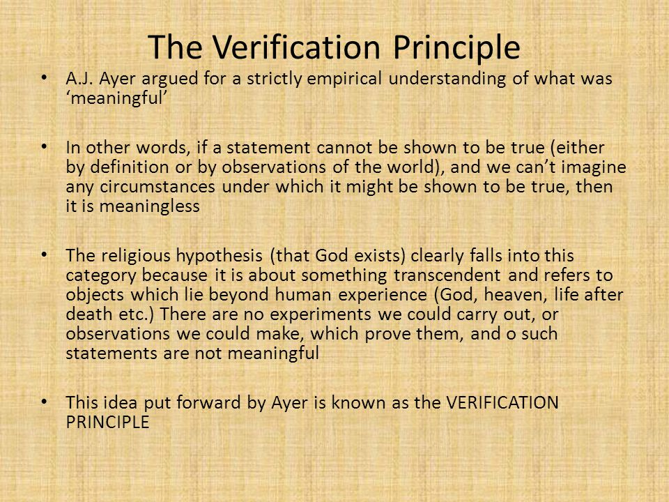 The Verification Principle