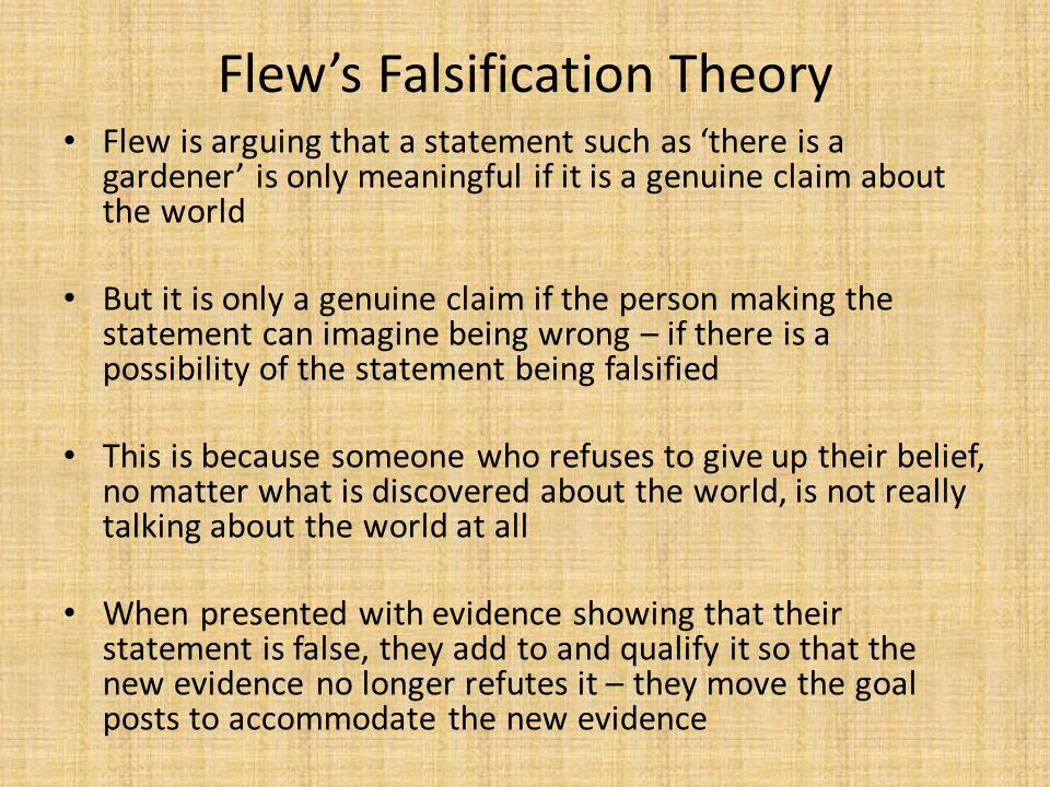 Flew's Falsification Theory