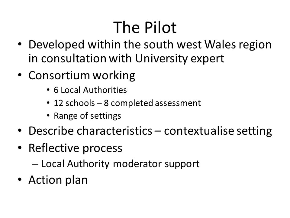 The Pilot Developed within the south west Wales region in consultation with University expert. Consortium working.