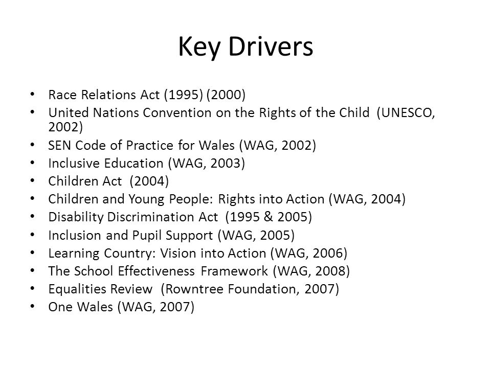 Key Drivers Race Relations Act (1995) (2000)