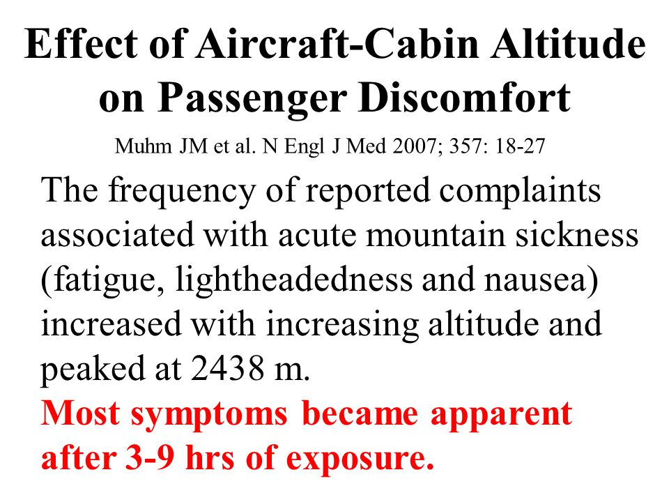 Effect of Aircraft-Cabin Altitude on Passenger Discomfort