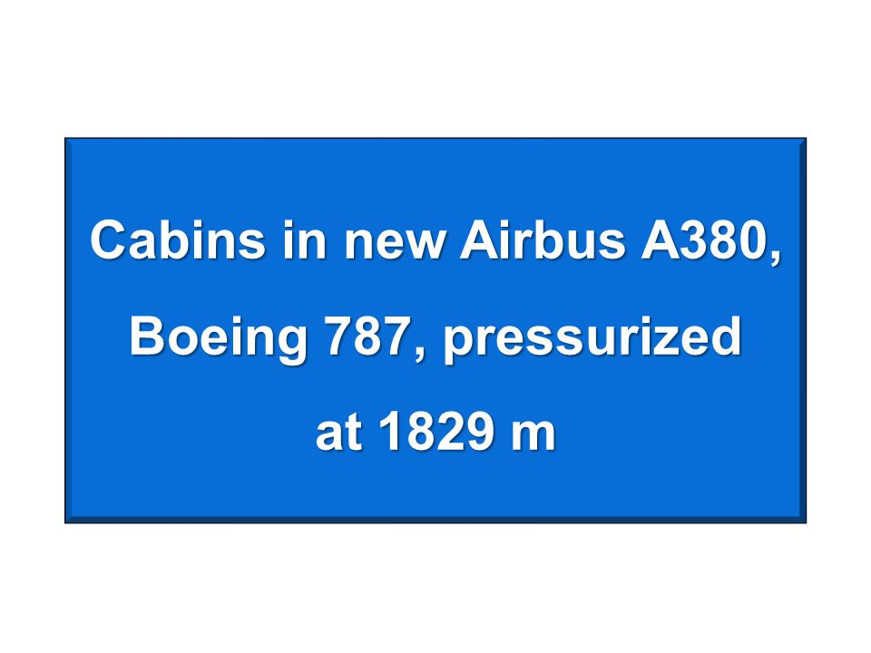 Cabins in new Airbus A380, Boeing 787, pressurized at 1829 m