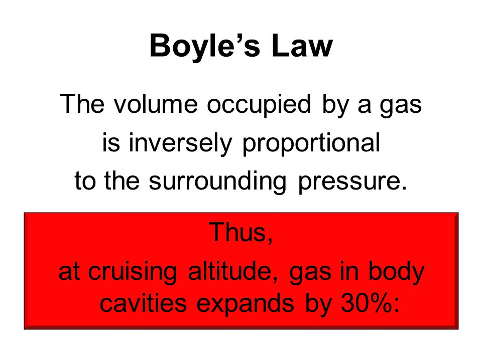 at cruising altitude, gas in body cavities expands by 30%: