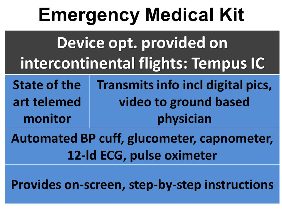 Emergency Medical Kit Device opt. provided on intercontinental flights: Tempus IC. State of the art telemed monitor.