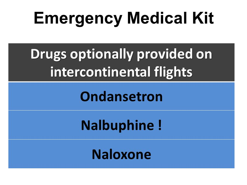 Drugs optionally provided on intercontinental flights