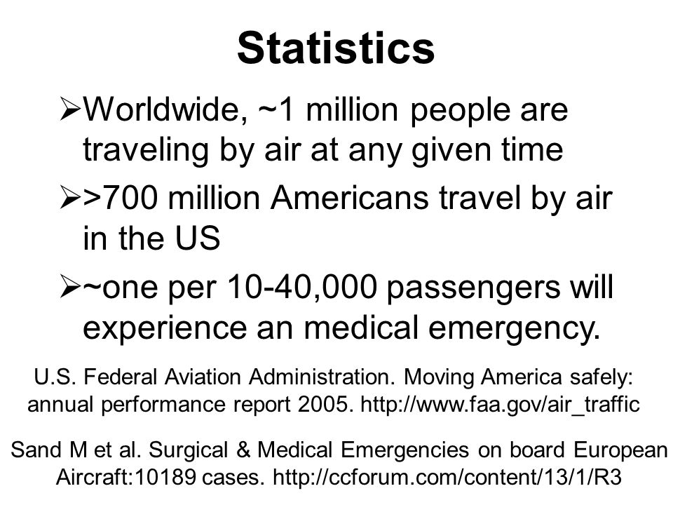 Statistics Worldwide, ~1 million people are traveling by air at any given time. >700 million Americans travel by air in the US.