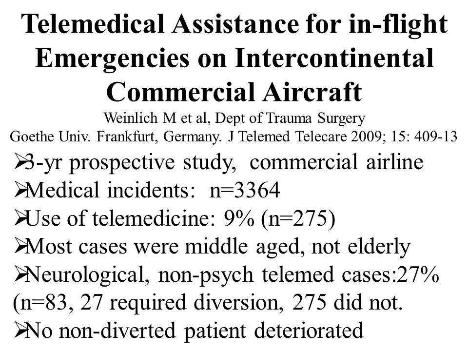 Telemedical Assistance for in-flight Emergencies on Intercontinental Commercial Aircraft