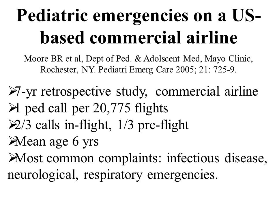 Pediatric emergencies on a US-based commercial airline