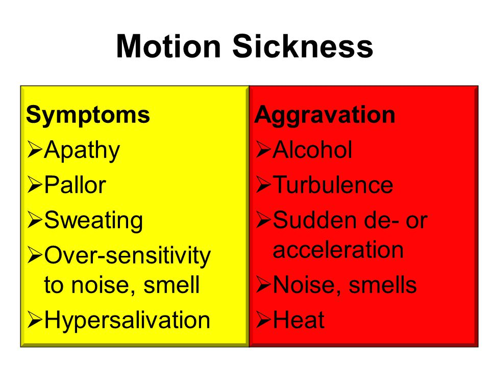 Motion Sickness Symptoms Apathy Pallor Sweating