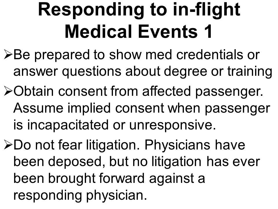 Responding to in-flight Medical Events 1