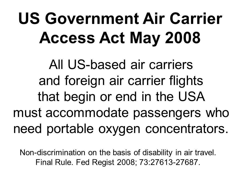 US Government Air Carrier Access Act May 2008
