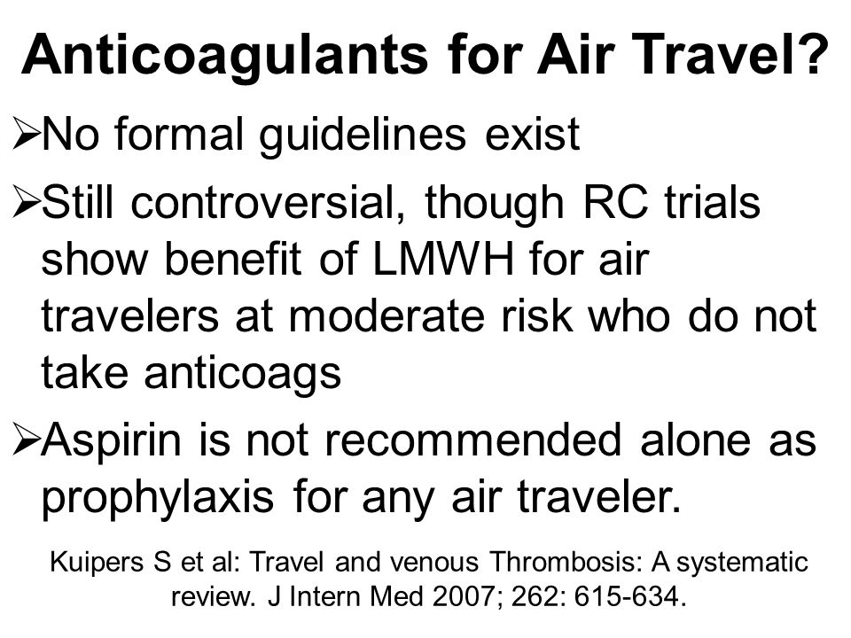Anticoagulants for Air Travel