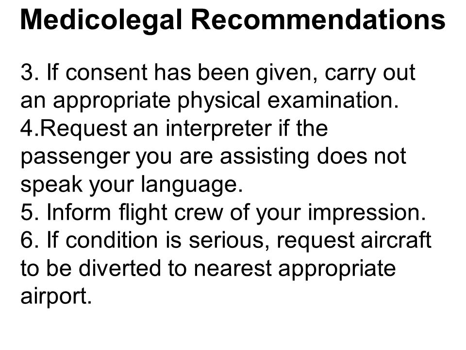 Medicolegal Recommendations