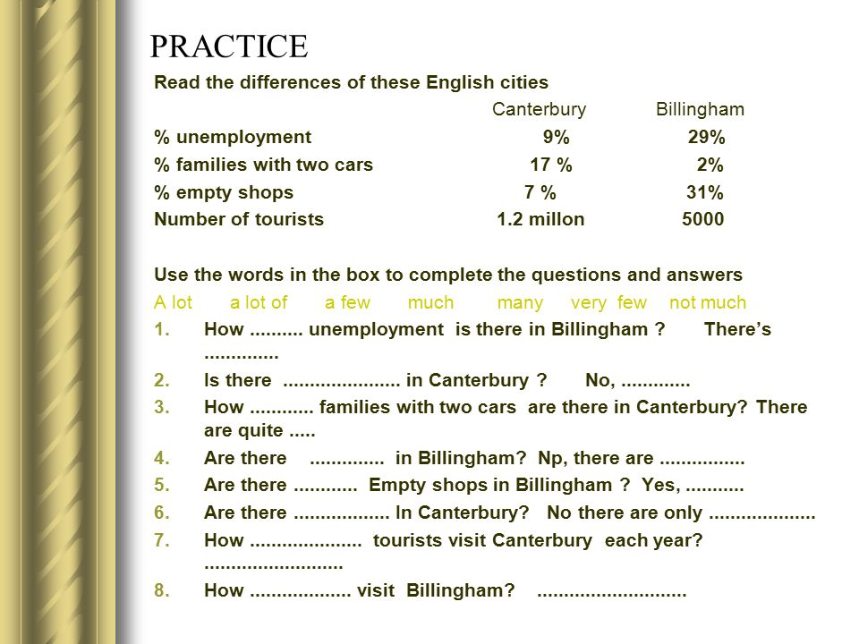 PRACTICE Read the differences of these English cities