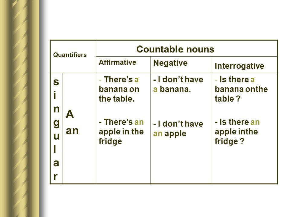 Countable nouns singular A an Negative Interrogative