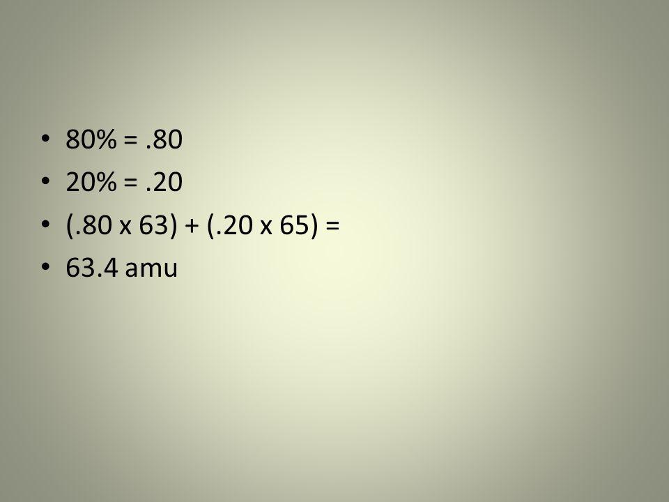 80% = .80 20% = .20 (.80 x 63) + (.20 x 65) = 63.4 amu