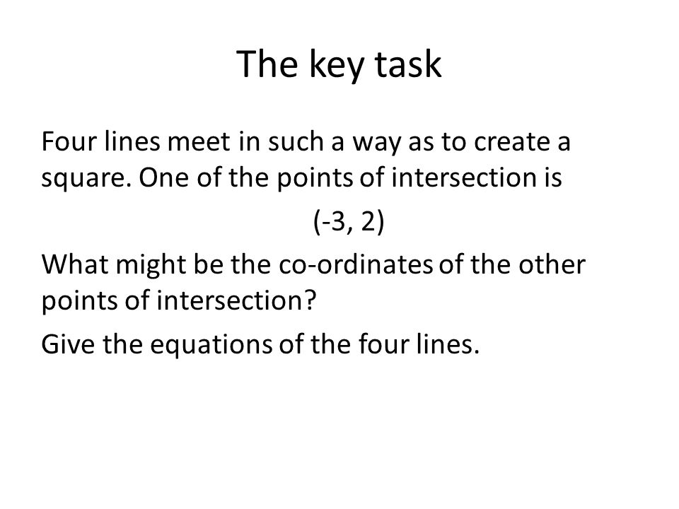 The key task Four lines meet in such a way as to create a square. One of the points of intersection is.