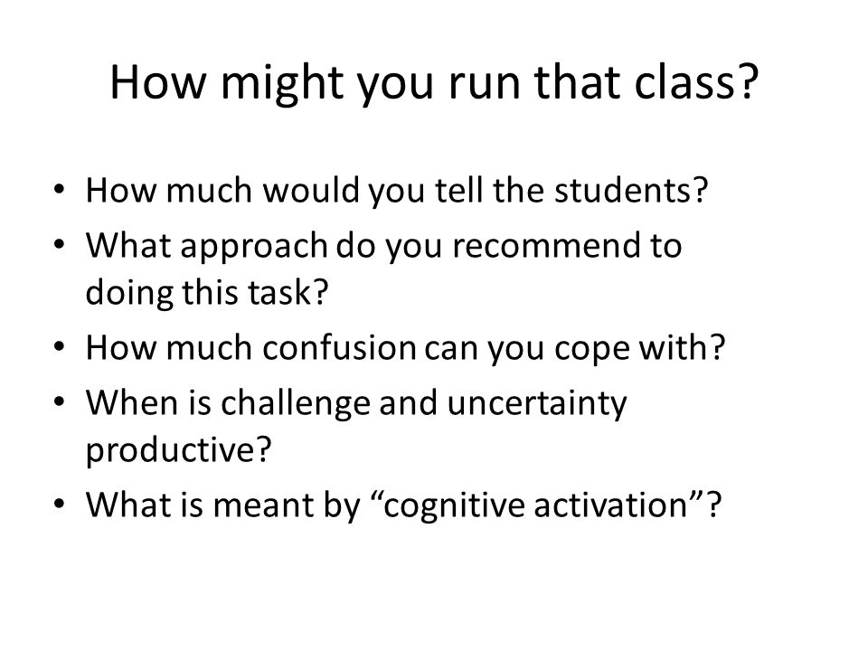 How might you run that class