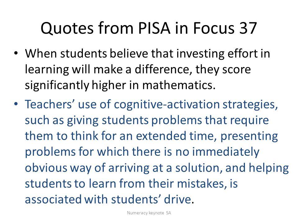 Quotes from PISA in Focus 37