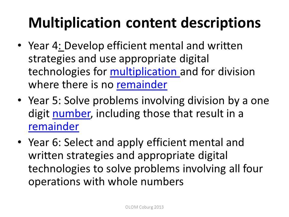 Multiplication content descriptions