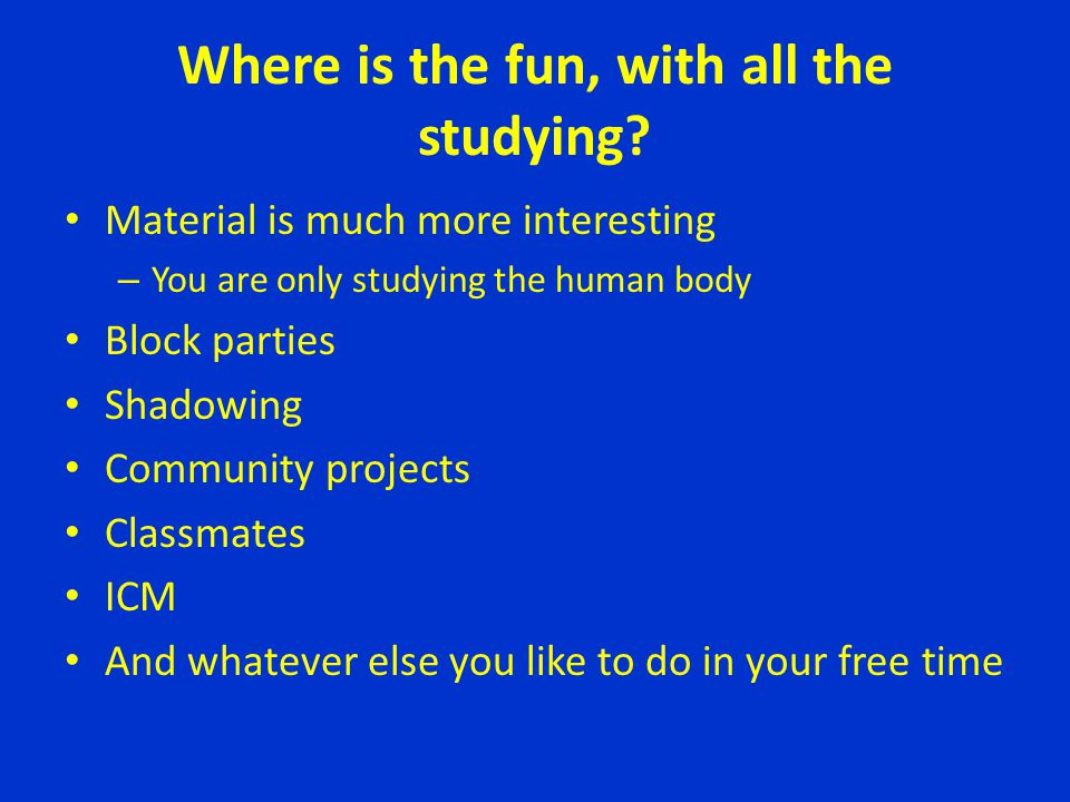 Where is the fun, with all the studying