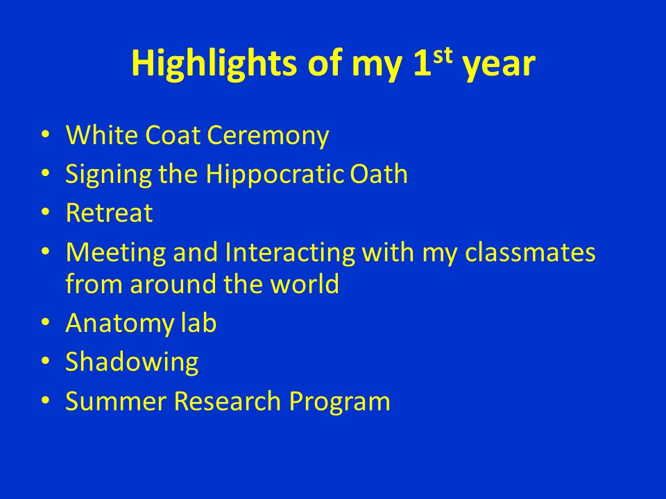 Highlights of my 1st year