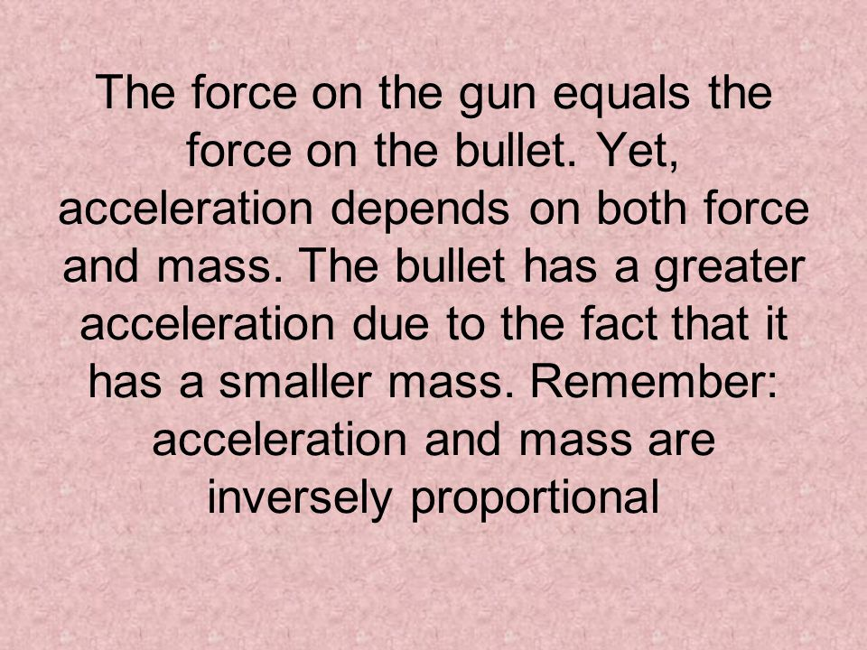 The force on the gun equals the force on the bullet
