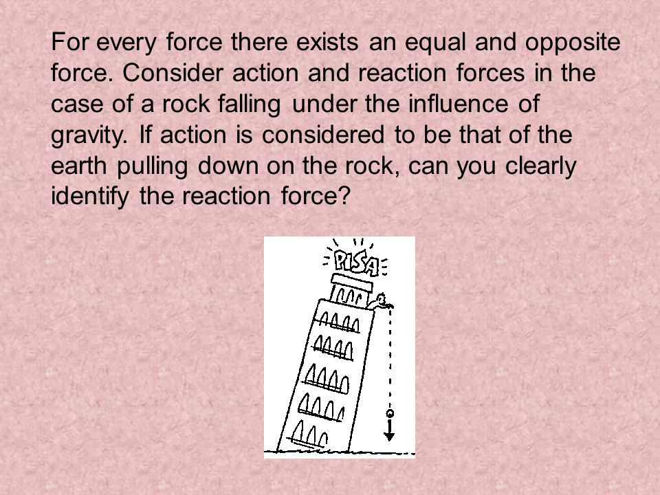 For every force there exists an equal and opposite force