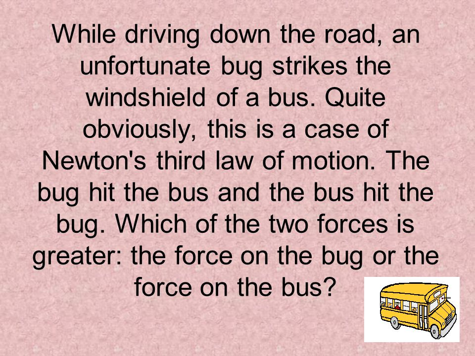 While driving down the road, an unfortunate bug strikes the windshield of a bus.