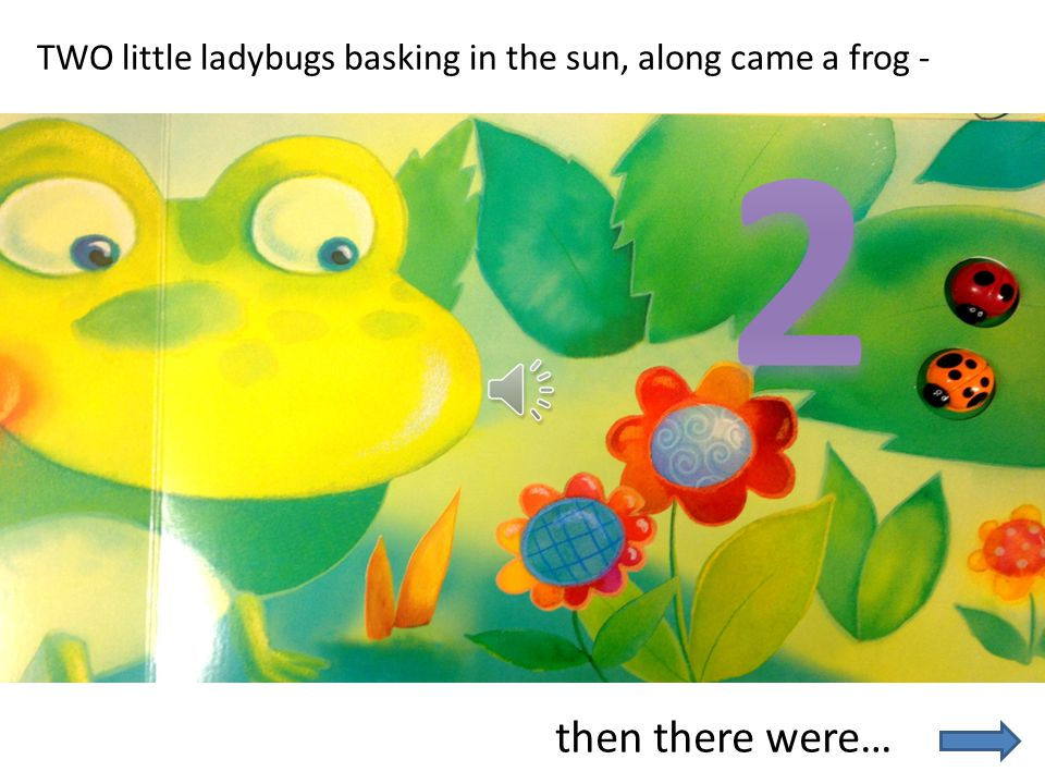 TWO little ladybugs basking in the sun, along came a frog -