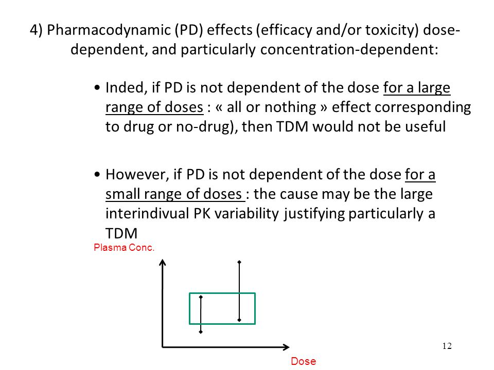 4) Pharmacodynamic (PD) effects (efficacy and/or toxicity) dose-dependent, and particularly concentration-dependent: