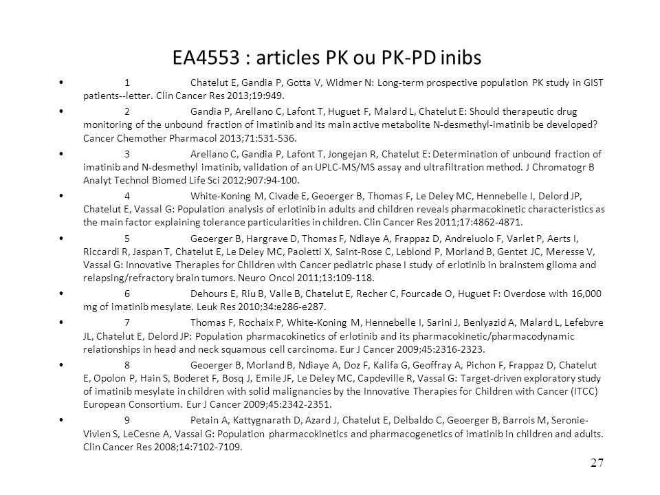EA4553 : articles PK ou PK-PD inibs
