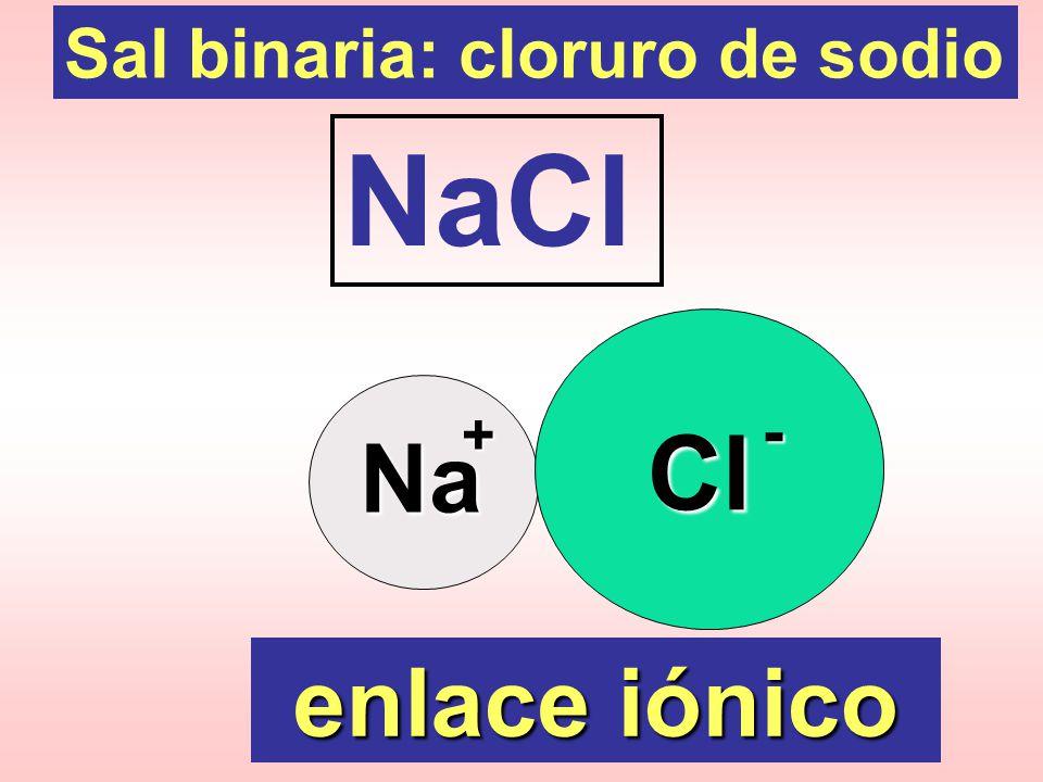 Sal binaria: cloruro de sodio