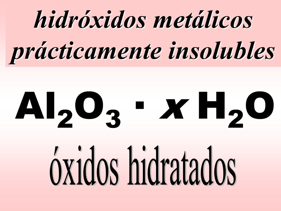 hidróxidos metálicos prácticamente insolubles