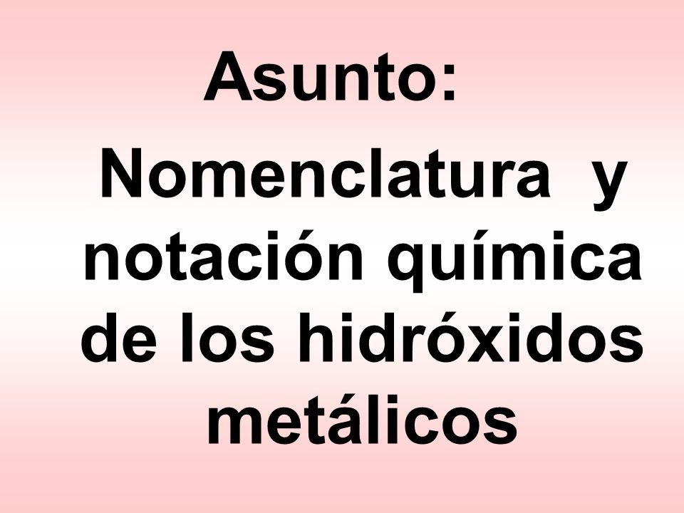 Nomenclatura y notación química de los hidróxidos metálicos