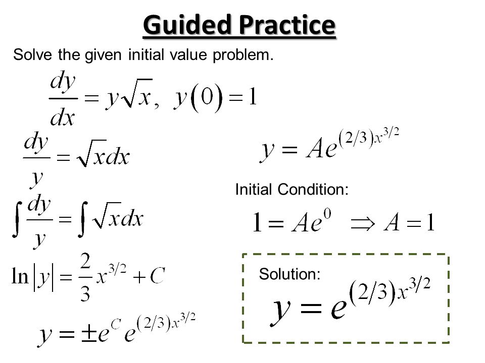 Guided Practice Solve the given initial value problem.