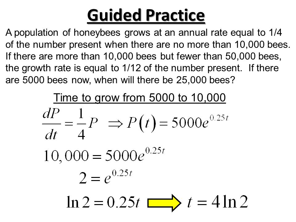 Guided Practice Time to grow from 5000 to 10,000