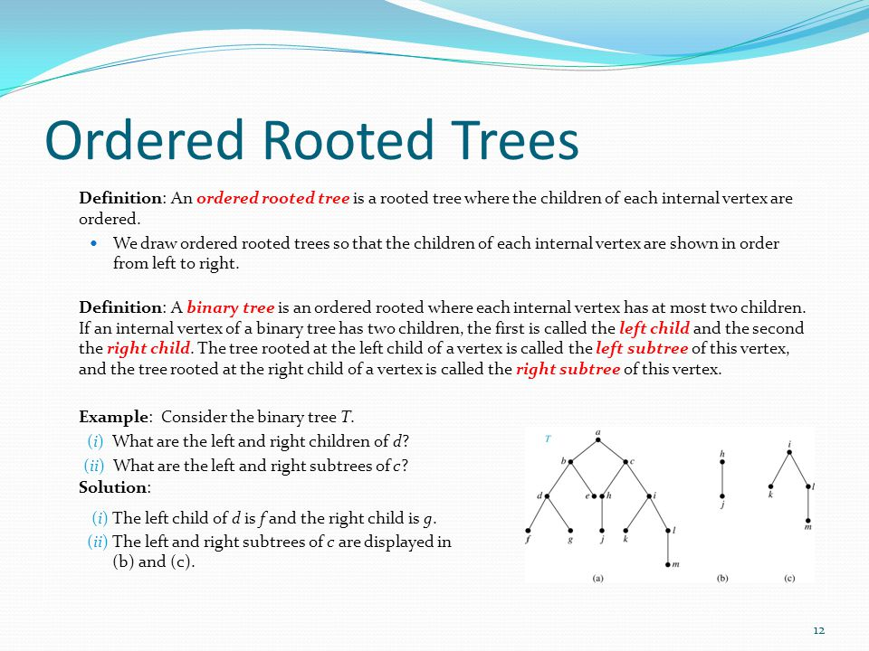 Ordered Rooted Trees Definition: An ordered rooted tree is a rooted tree where the children of each internal vertex are ordered.