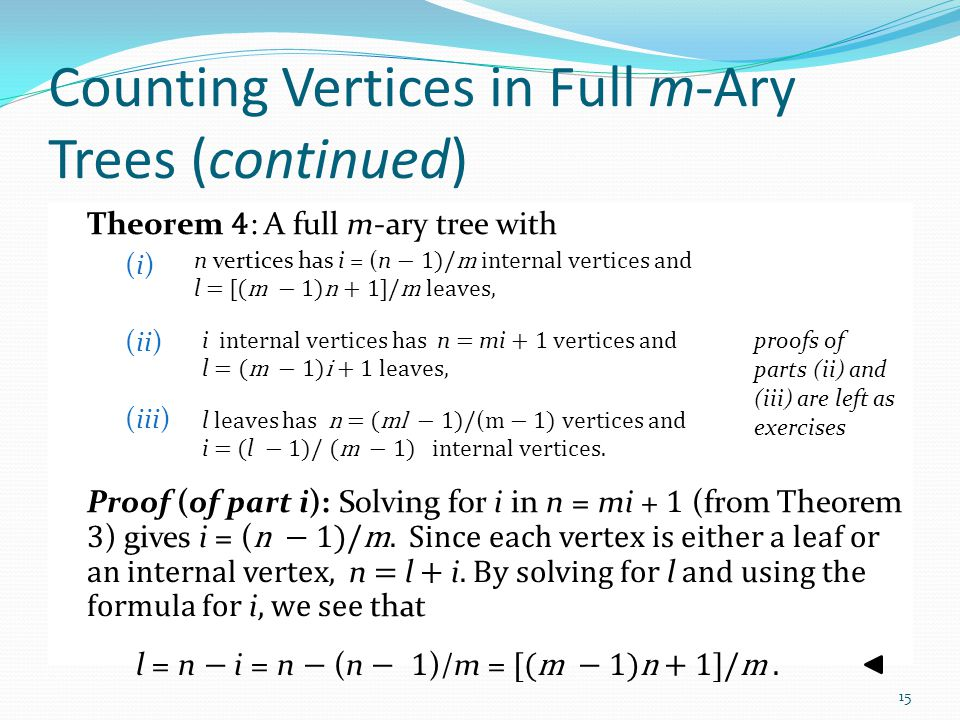 Counting Vertices in Full m-Ary Trees (continued)