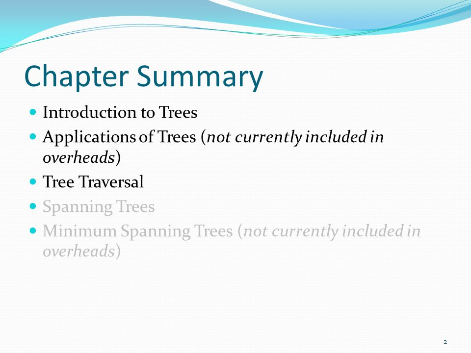 Chapter Summary Introduction to Trees