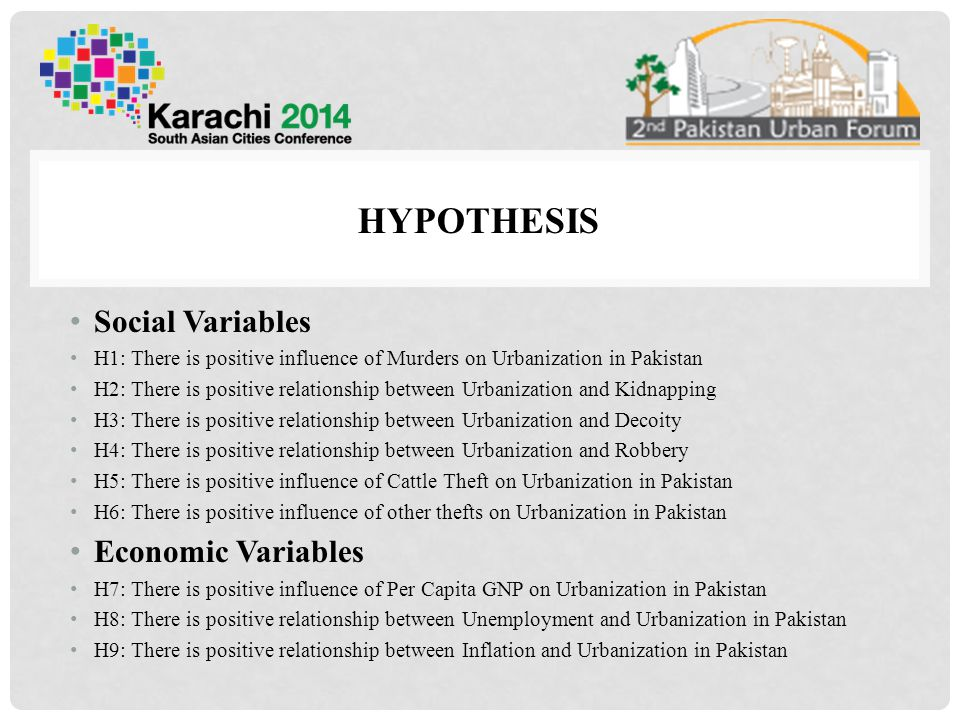 Hypothesis Social Variables Economic Variables