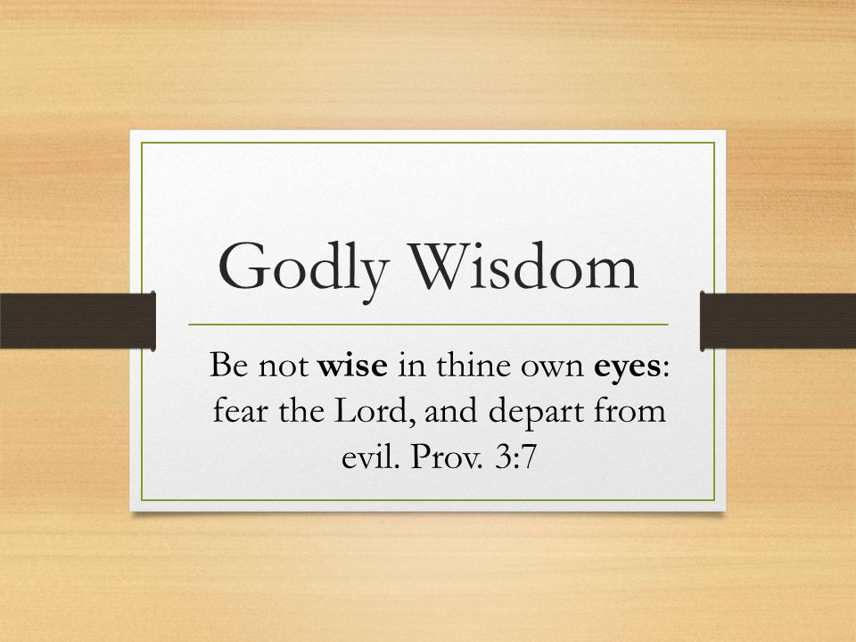 Godly Wisdom Be not wise in thine own eyes: fear the Lord, and depart from evil. Prov. 3:7