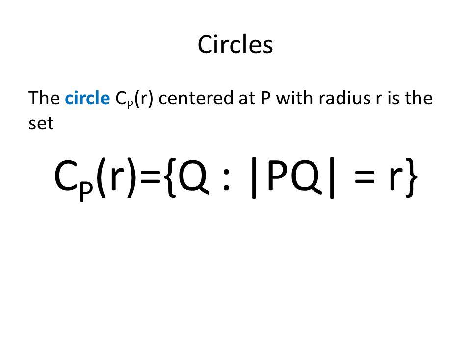 CP(r)={Q : |PQ| = r} Circles