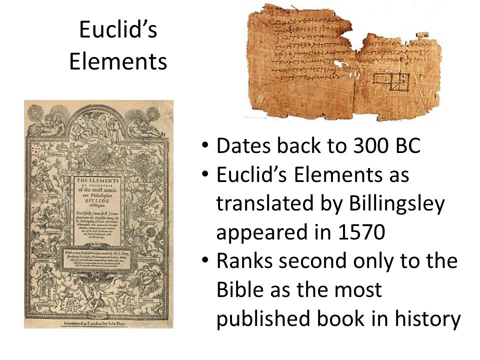 Euclid's Elements Dates back to 300 BC
