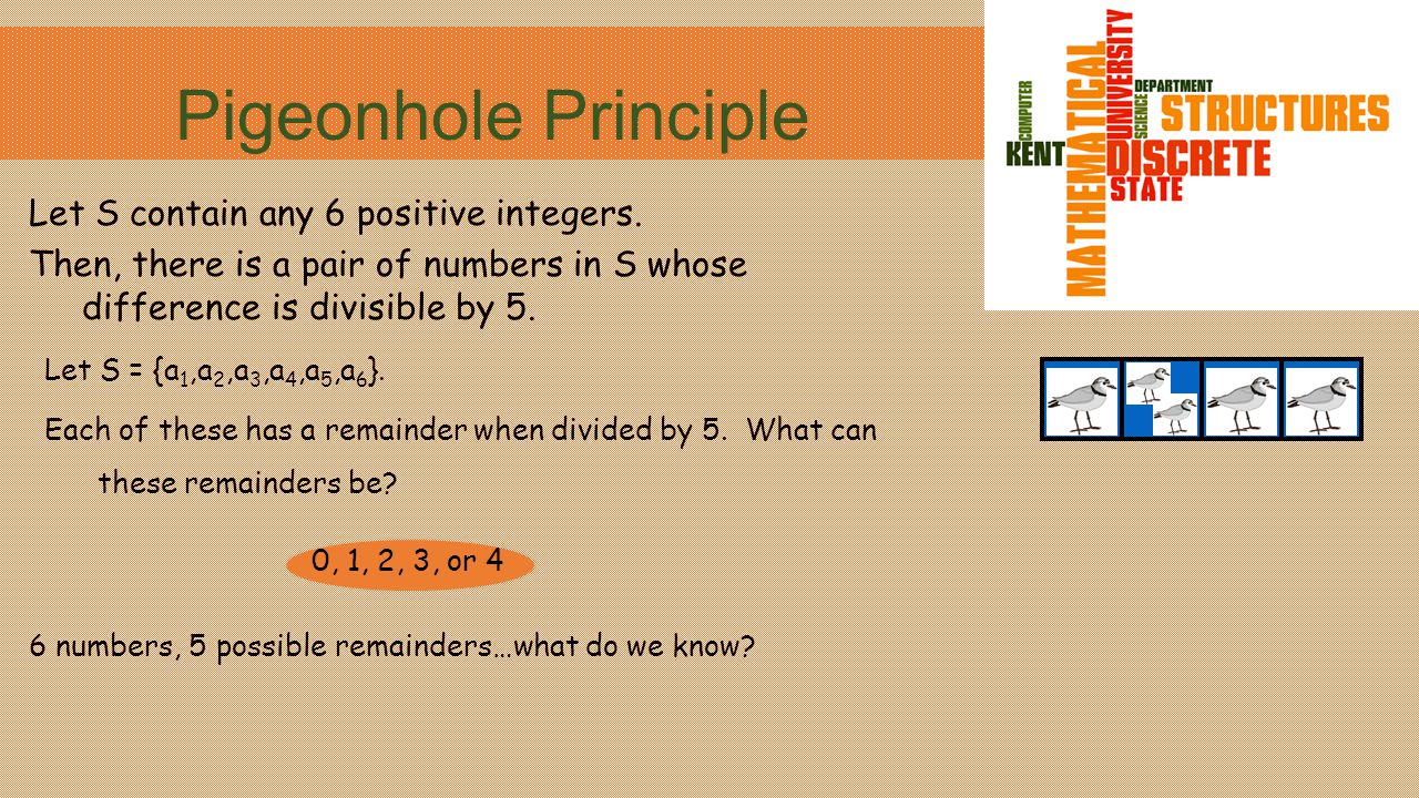 Pigeonhole Principle Let S contain any 6 positive integers.